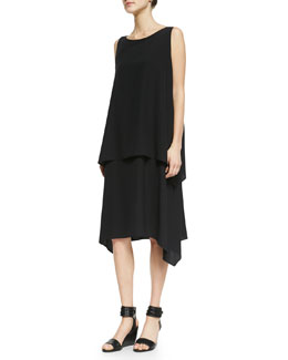 eskandar Cascading Double Layer Dress, Black