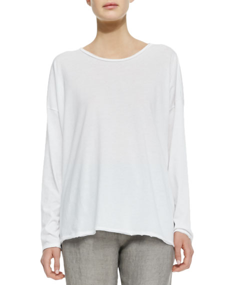 Long-Sleeve Scoop Neck Tee, White