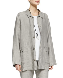 eskandar Linen Poacher's Jacket, Gravel
