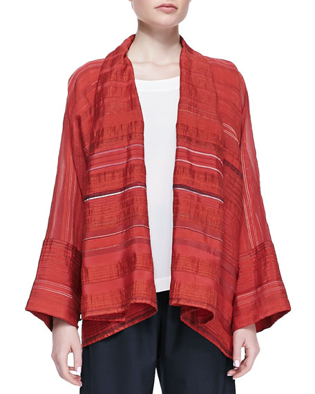 Wide A-line Scrunched Shawl, Red