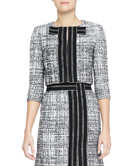 Carolina Herrera Cropped Silk Tweed Jacket, Black/White