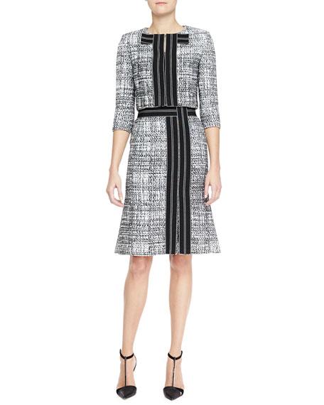 A-Line Tweed Skirt, Black/White