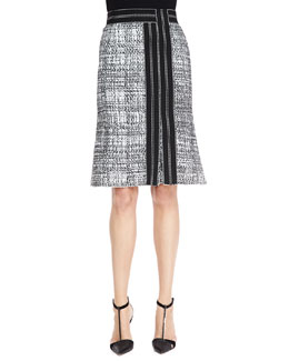Carolina Herrera A-Line Tweed Skirt, Black/White