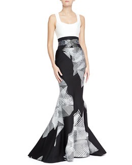 Carolina Herrera Geometric Optical Print Gown with Trumpet Skirt, White/Black