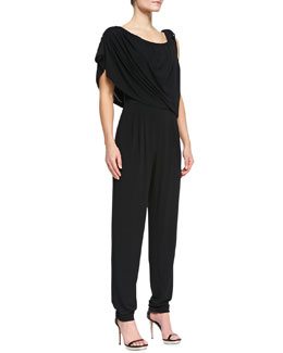 Escada Tie-Shoulder Draped Jumpsuit, Black