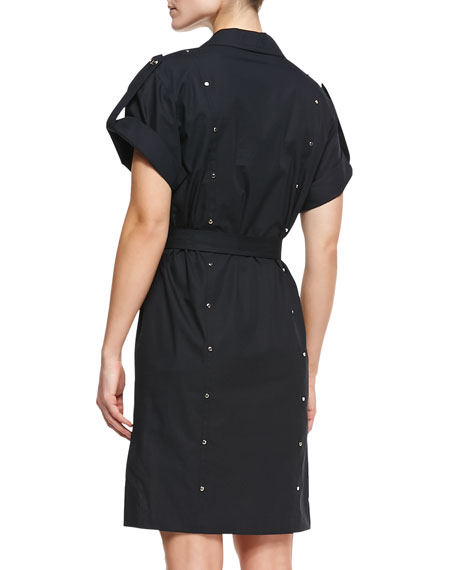 Short-Sleeve Shirtdress with Studs, Black