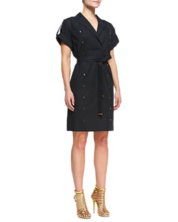 Escada Short-Sleeve Shirtdress with Studs, Black