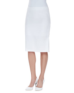 Escada Skirt with Kickback Detail, White