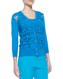 Escada Swiss Lace Button Cardigan, Lagoon