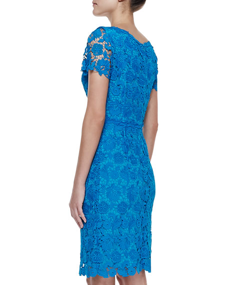Short-Sleeve Swiss Lace V-Neck Dress, Lagoon
