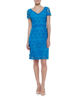 Escada Short-Sleeve Swiss Lace V-Neck Dress, Lagoon