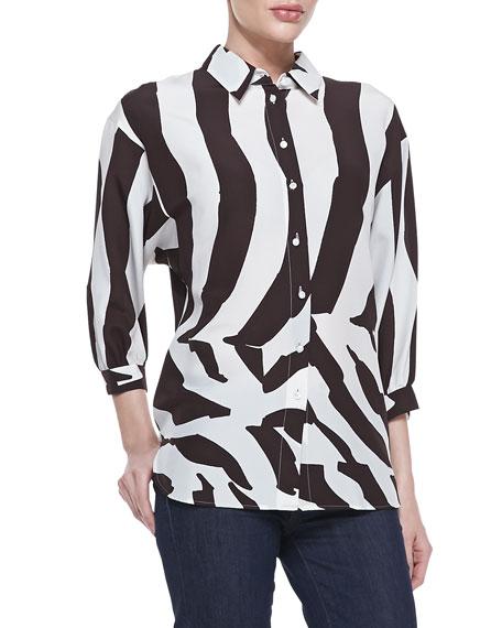 3/4-Sleeve Zebra-Print Blouse