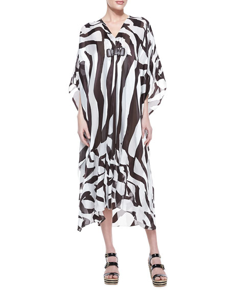 Zebra-Print Silk Caftan with Wooden Beads