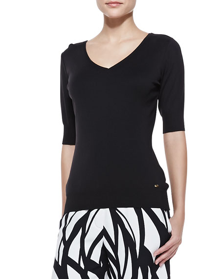 Escada Short-Sleeve V-Neck Jersey Tee, Black