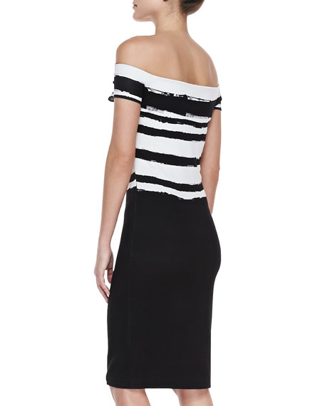 Off-Shoulder Paint-Striped Dress, Black/White