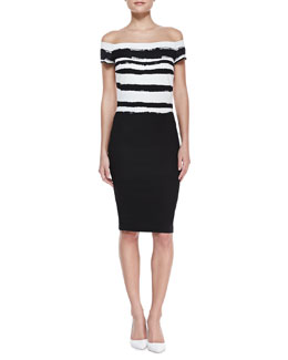 Escada Off-Shoulder Paint-Striped Dress, Black/White