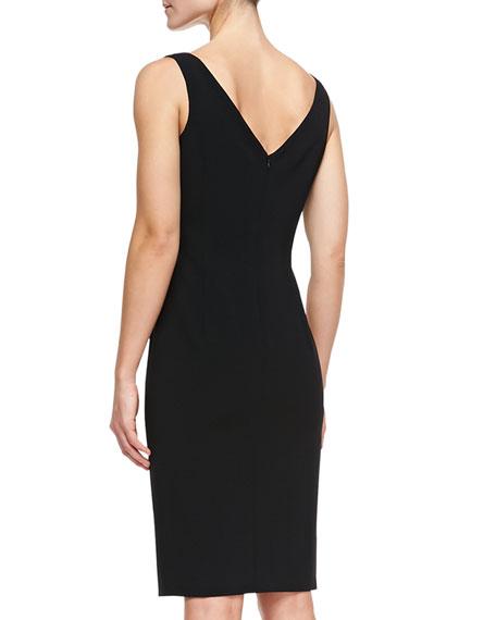 Sleeveless V-Neck Techno Sheath Dress, Black