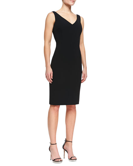 Sleeveless V-Neck Techno Sheath Dress, Black