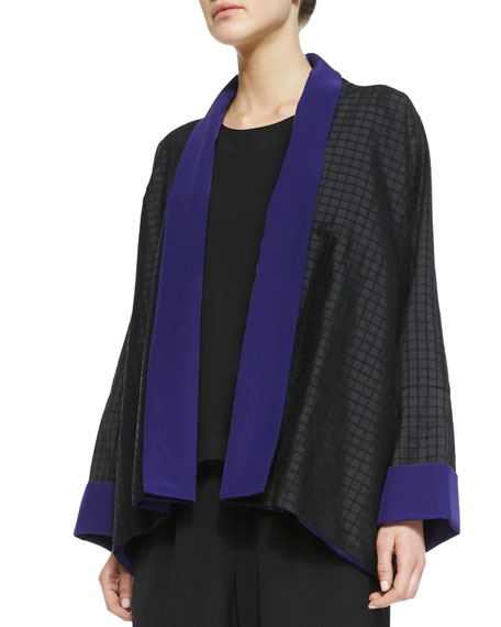 Wide A-Line Collar Jacket, Black/Regal