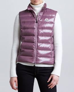 Moncler Zip-Front Puffer Vest, Mauve