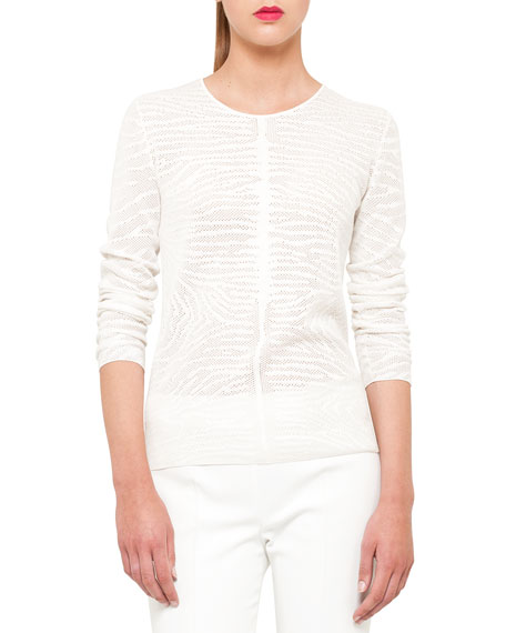 Cotton-Silk Zebra Jacquard Pullover, Calla White