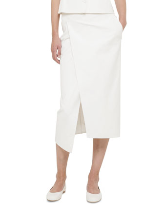 Double-Face Stretch Wrap Skirt, Calla White