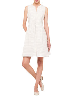 Akris Pintucked Silk Dress, Thistle White