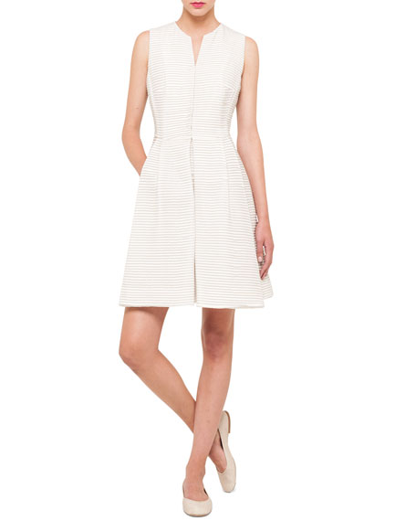 Pintucked Silk Dress, Thistle White
