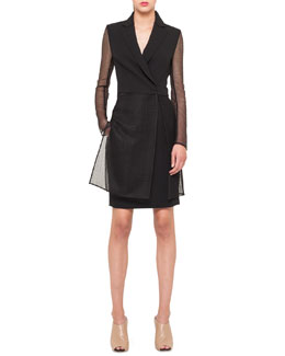 Akris Long Jacket with St. Gallen Embroidery, Black