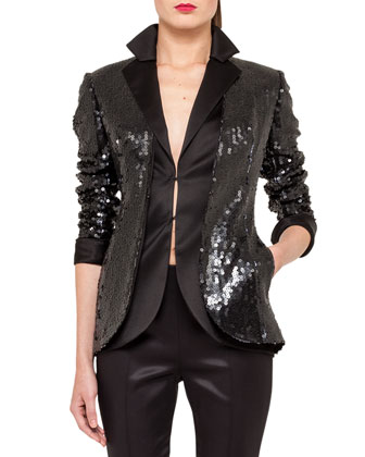 Sequined Cardigan-Style Jacket, Black