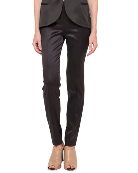 Stretch Silk Satin Slim Pants, Black