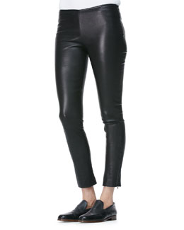 THE ROW Cropped Leather Flare Pants