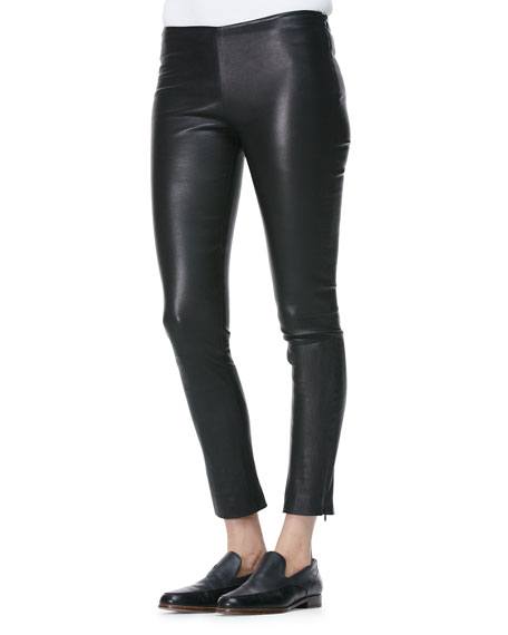 Cropped Leather Flare Pants