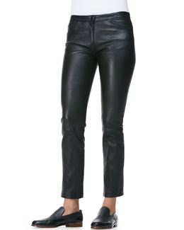 THE ROW Five-Pocket Leather Ankle Jeans