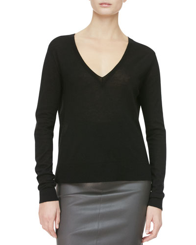 THE ROW Easy V-Neck Pullover Sweater, Black