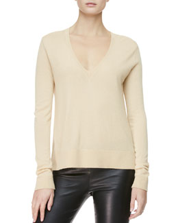 THE ROW Easy V-Neck Pullover Sweater, Matchstick