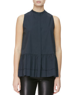 THE ROW Sleeveless Buttoned Peplum Blouse