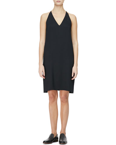 THE ROW V-Neck Racerback Chemise Dress, Black