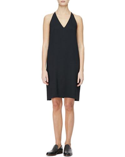 THE ROW V-Neck Racerback Chemise Dress, Black