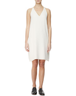 THE ROW V-Neck Racerback Chemise Dress, Cord