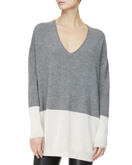 THE ROW V-Neck Oversized Sweater, Gray/Snow