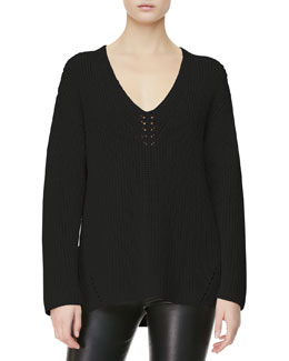 THE ROW V-Neck-Detail Knit Sweater, Black