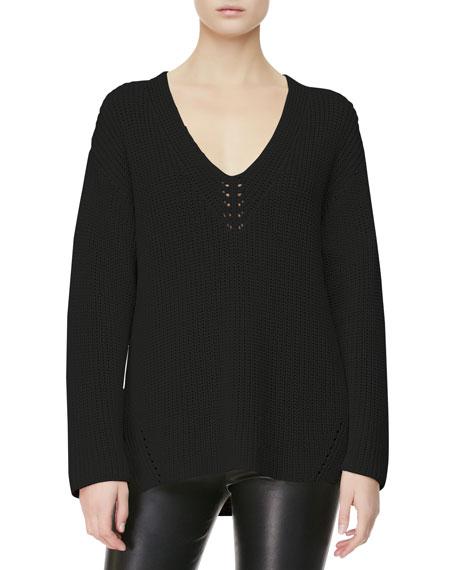 V-Neck-Detail Knit Sweater, Black