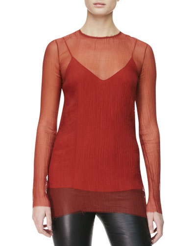 THE ROW Crinkled Sheer Tunic Blouse, Auburn