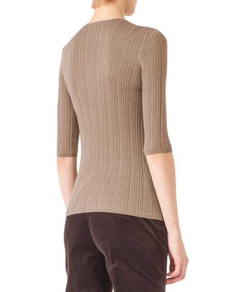 Ribbed Knit Elbow-Sleeve Top