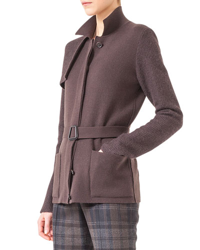 Akris Belted Knit Trench Cardigan
