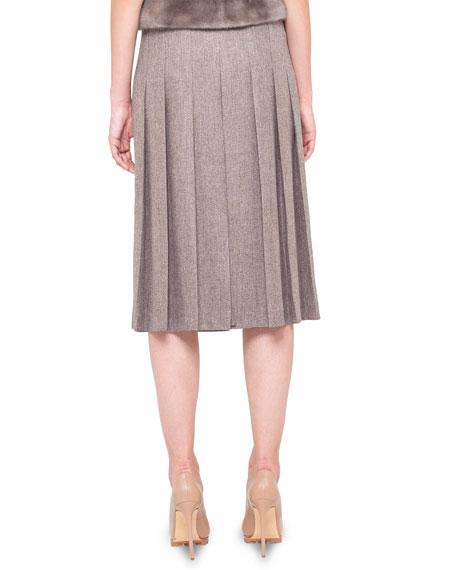 Pleated Slit-Front Long Skirt