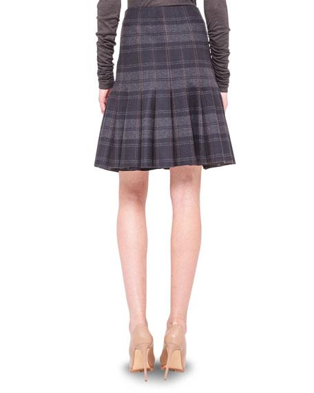 Drop-Pleat Plaid Flannel Skirt