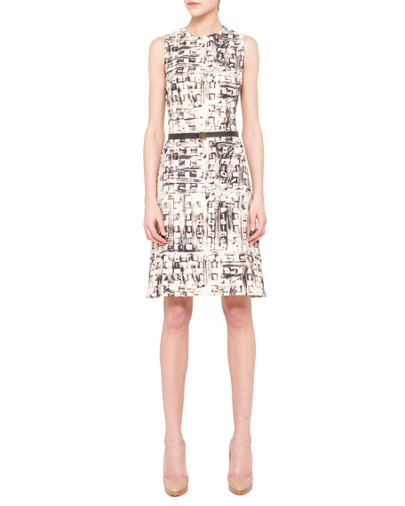 Abstract-Print Belted Shift Dress
