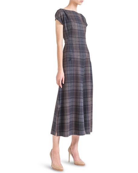 Cap-Sleeve Wool Flannel Midi Dress